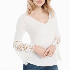 WHBM V neck crochet bell sleeve top ecru